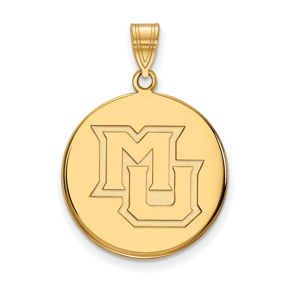 14k Yellow Gold Marquette U Large Disc Pendant, Item P17176 by The Black Bow Jewelry Co.