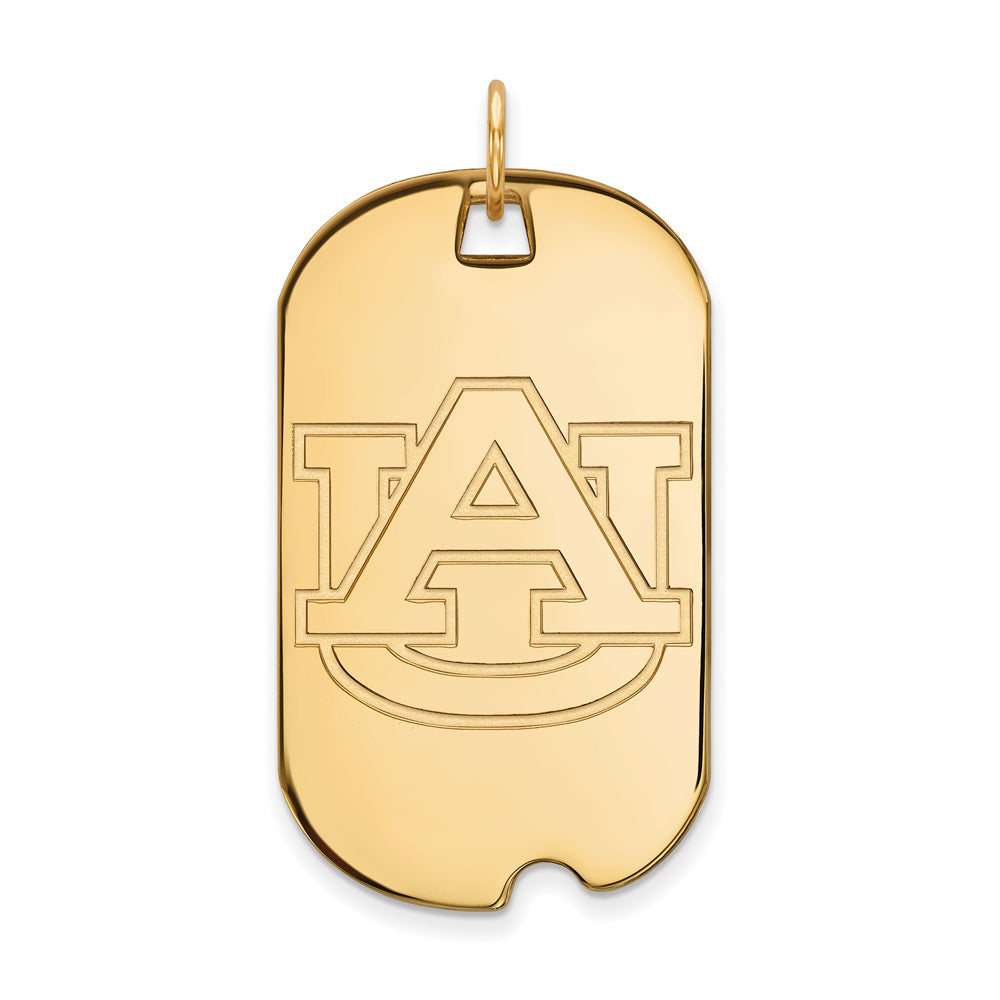 14k Yellow Gold Auburn U Large Dog Tag Pendant, Item P17196 by The Black Bow Jewelry Co.
