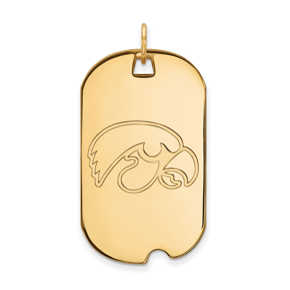 14k Yellow Gold U. of Iowa Large Dog Tag Pendant, Item P17213 by The Black Bow Jewelry Co.