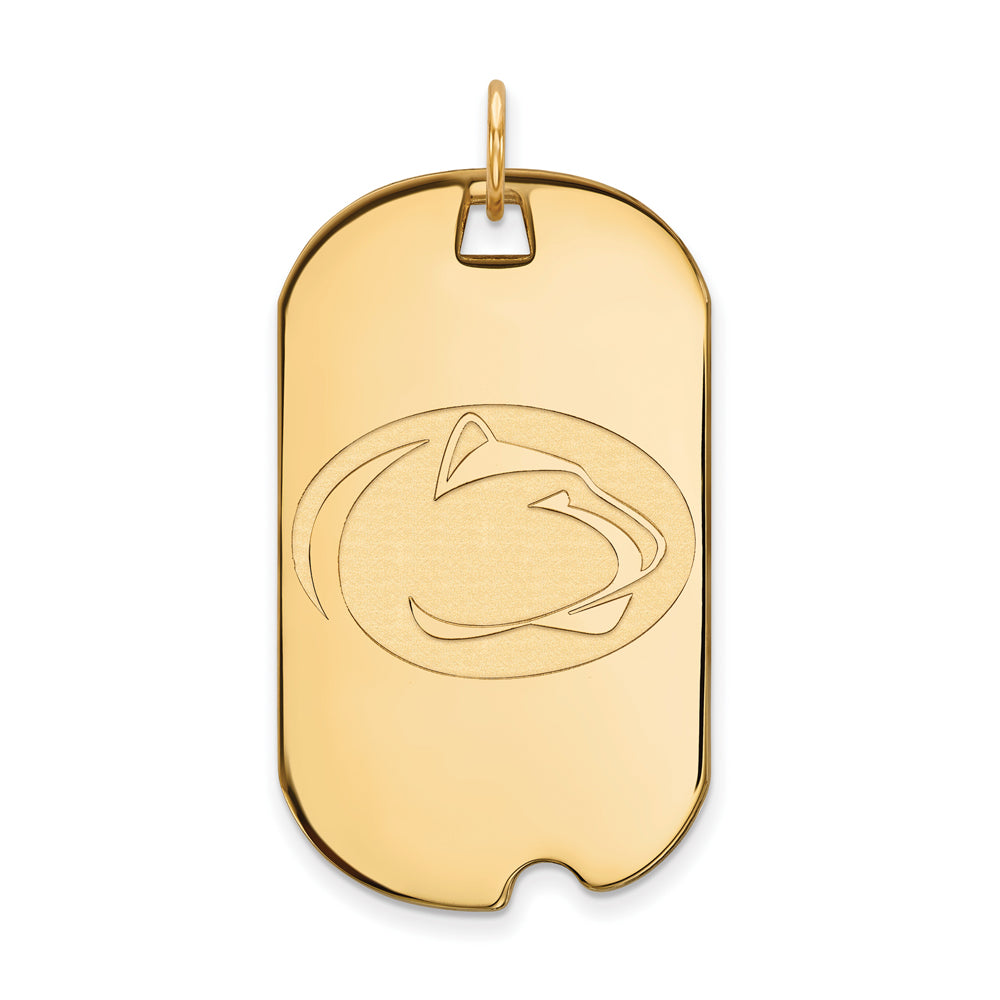 14k Yellow Gold Penn State Large Dog Tag Pendant, Item P17226 by The Black Bow Jewelry Co.