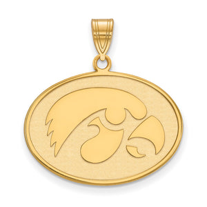 NCAA 14k Gold Plated Silver U. of Iowa Large Pendant - The Black Bow Jewelry Co.