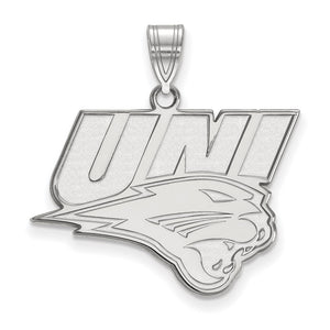 NCAA Sterling Silver Northern Iowa Large Pendant - The Black Bow Jewelry Co.
