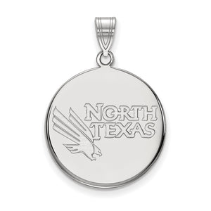 NCAA Sterling Silver North Texas Large Disc Pendant - The Black Bow Jewelry Co.