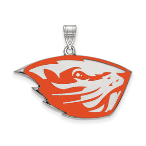 NCAA Sterling Silver Oregon State Large Enamel Pendant - The Black Bow Jewelry Co.