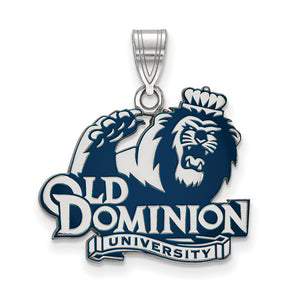 NCAA Sterling Silver Old Dominion U. Large Enamel Pendant - The Black Bow Jewelry Co.