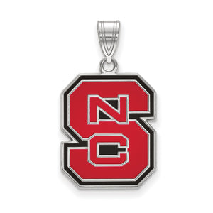 NCAA Sterling Silver North Carolina Large Enamel Pendant - The Black Bow Jewelry Co.