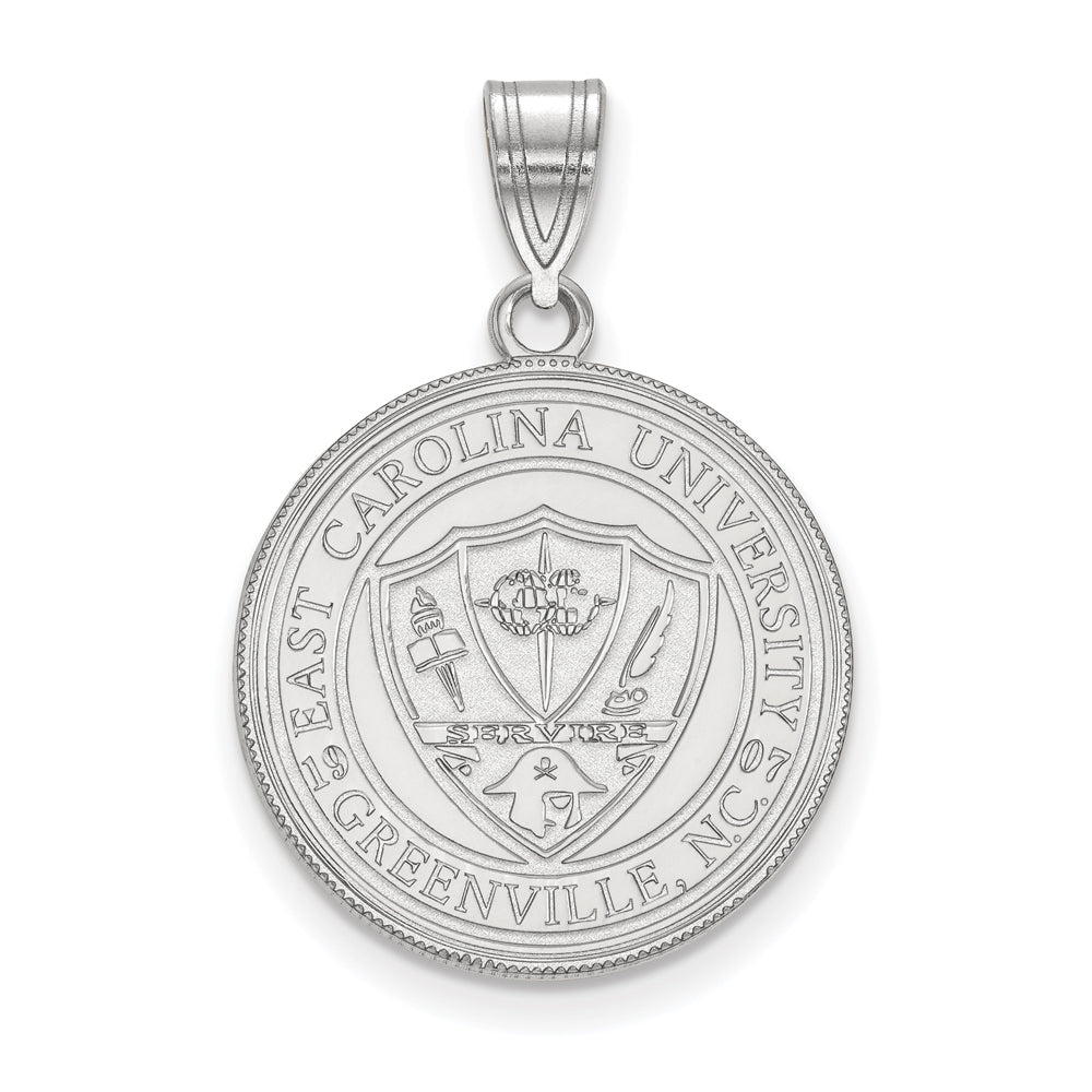 Sterling Silver East Carolina U Large Crest Pendant, Item P18389 by The Black Bow Jewelry Co.