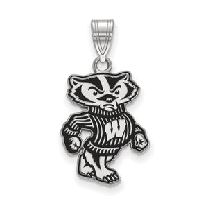 NCAA Sterling Silver U. of Wisconsin Large Enamel Pendant - The Black Bow Jewelry Co.