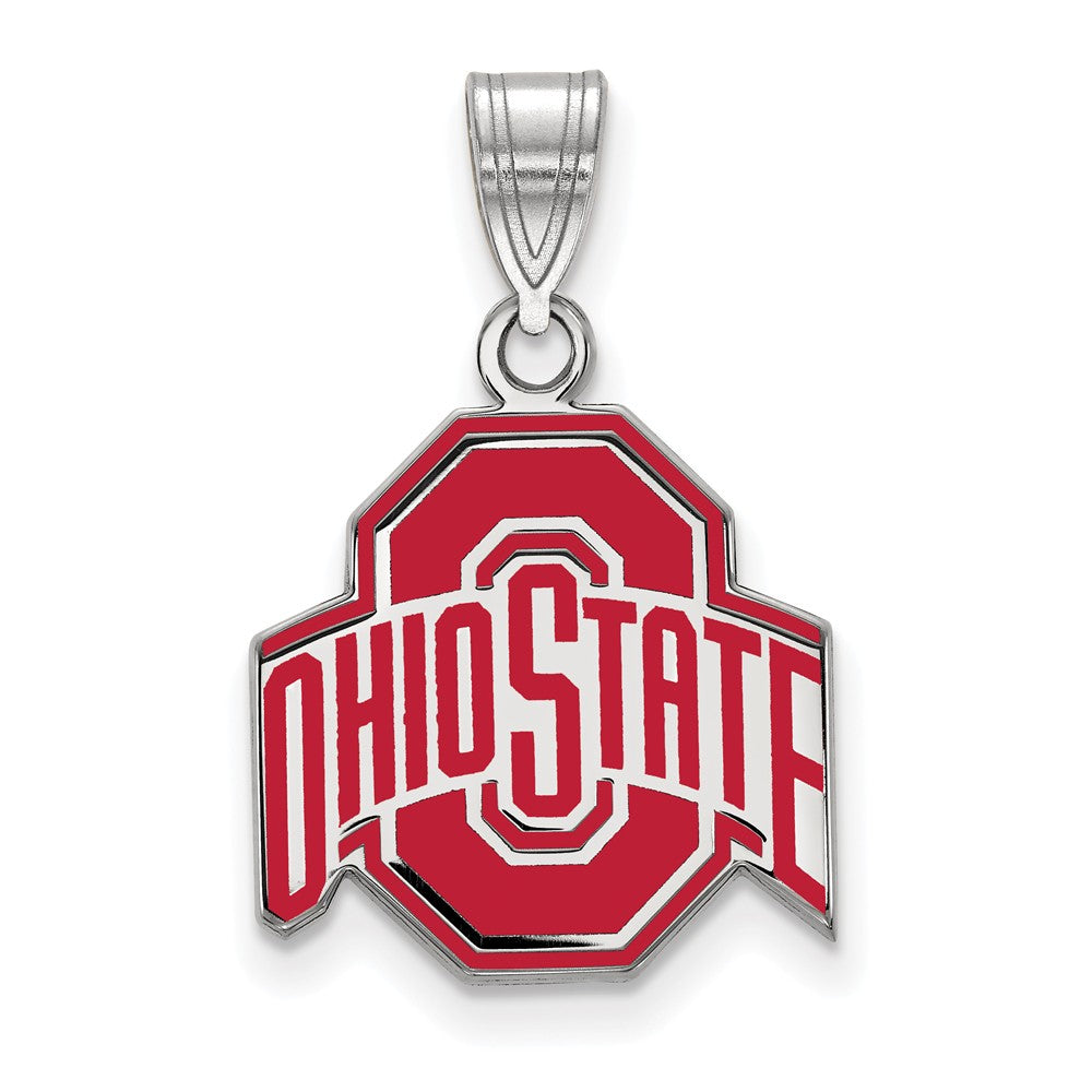 NCAA Sterling Silver Ohio State Medium Enamel Pendant, Item P18529 by The Black Bow Jewelry Co.