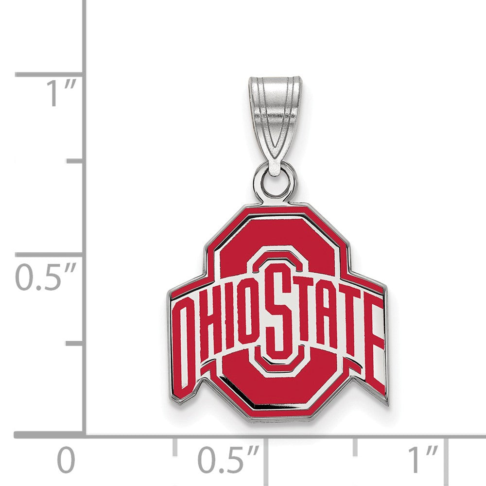Alternate view of the NCAA Sterling Silver Ohio State Medium Enamel Pendant by The Black Bow Jewelry Co.