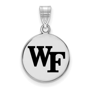 NCAA Sterling Silver Wake Forest U. Medium Enamel Disc Pendant - The Black Bow Jewelry Co.