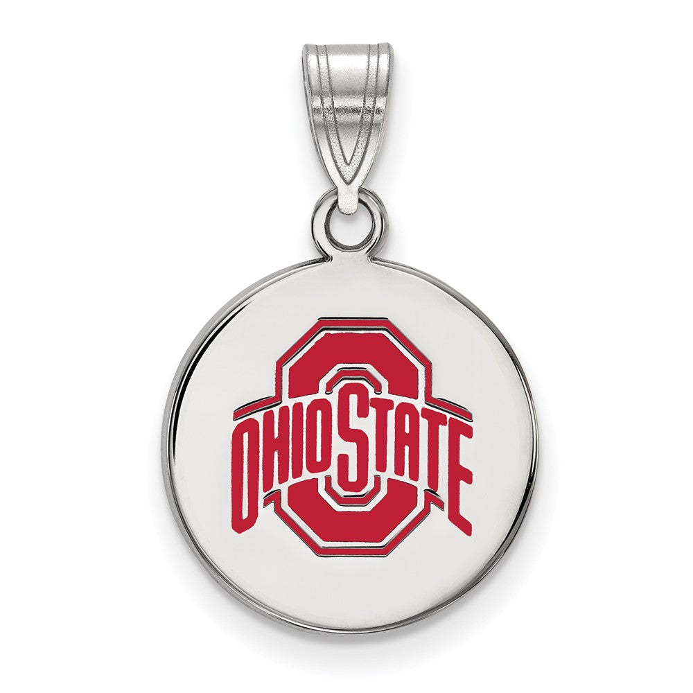 NCAA Sterling Silver Ohio State Medium Enamel Disc Pendant, Item P18562 by The Black Bow Jewelry Co.