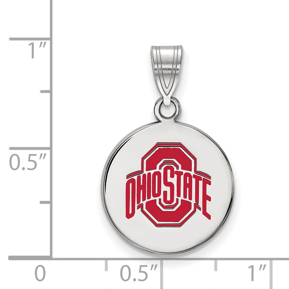 Alternate view of the NCAA Sterling Silver Ohio State Medium Enamel Disc Pendant by The Black Bow Jewelry Co.