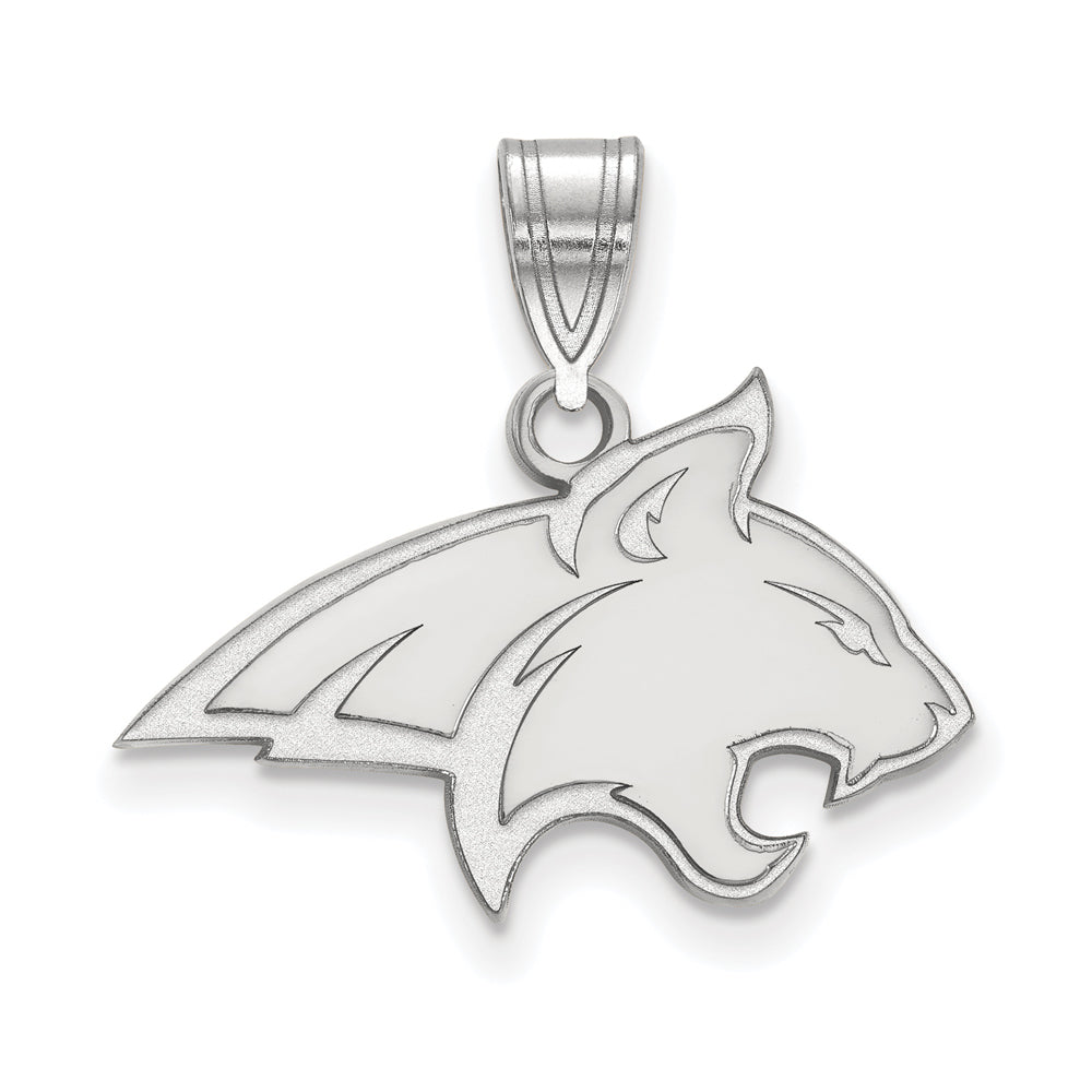 NCAA 10k White Gold Montana State Medium Pendant, Item P18615 by The Black Bow Jewelry Co.