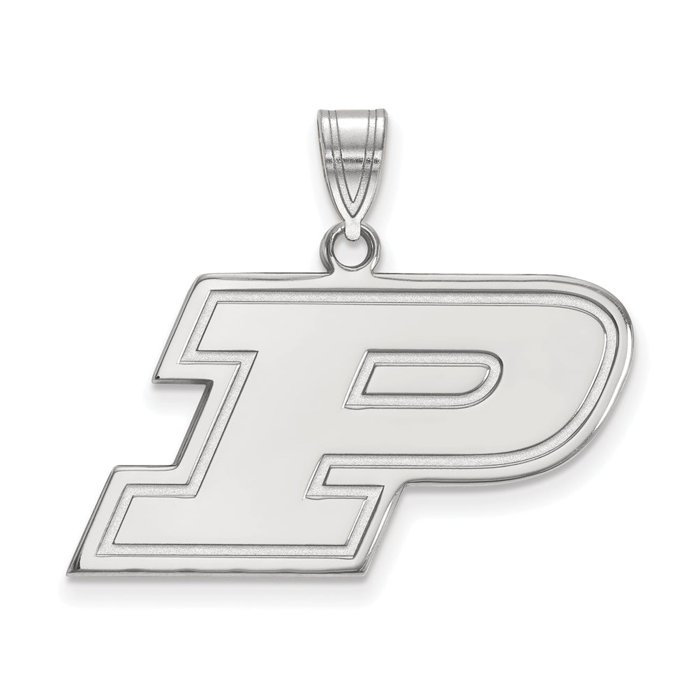 NCAA 10k White Gold Purdue Medium Pendant, Item P18618 by The Black Bow Jewelry Co.