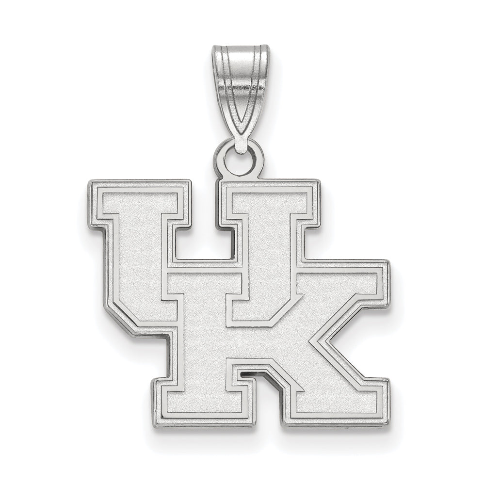 NCAA 10k White Gold U. of Kentucky Medium Pendant, Item P18631 by The Black Bow Jewelry Co.