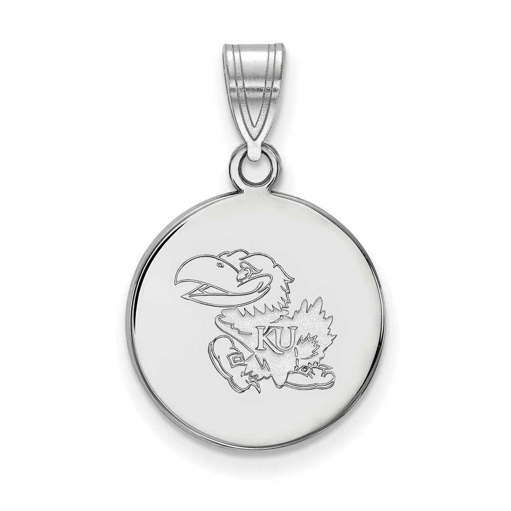 10k White Gold U. of Kansas Medium Disc Pendant, Item P18672 by The Black Bow Jewelry Co.