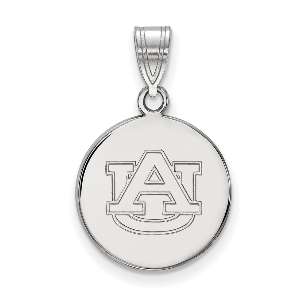 10k White Gold Auburn U Medium Disc Pendant, Item P18681 by The Black Bow Jewelry Co.