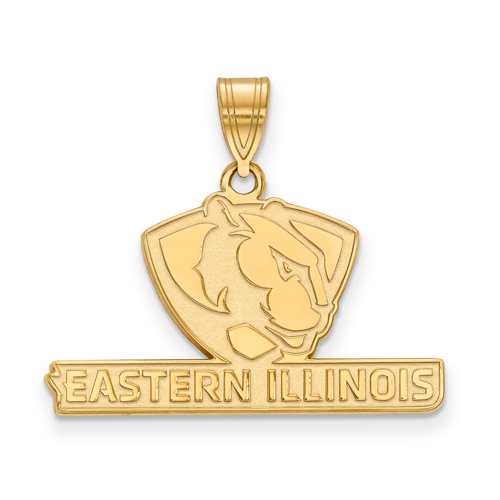 10k Yellow Gold Eastern Illinois U Medium Pendant, Item P18746 by The Black Bow Jewelry Co.