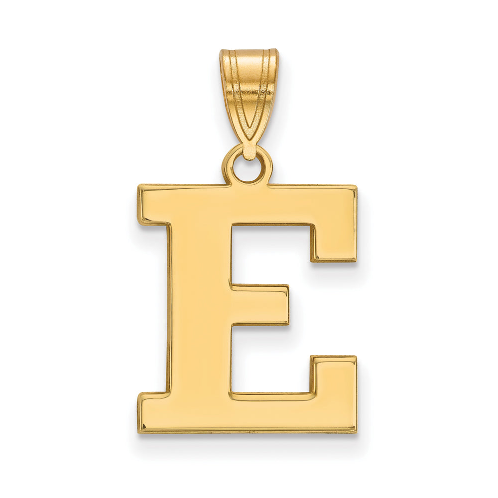 10k Yellow Gold Eastern Michigan U Medium Initial E Pendant, Item P18756 by The Black Bow Jewelry Co.
