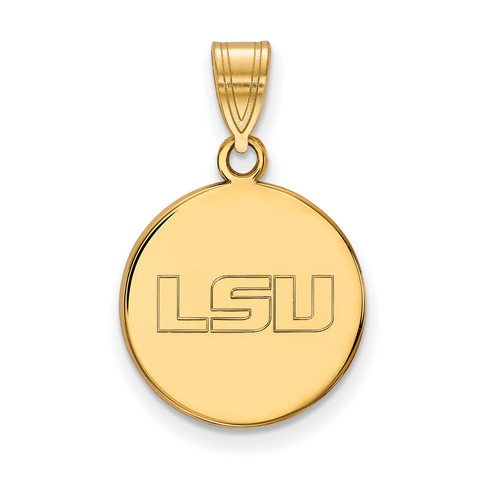 10k Yellow Gold Louisiana State Medium Disc Pendant, Item P18821 by The Black Bow Jewelry Co.