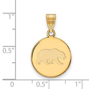 Alternate view of the NCAA 10k Yellow Gold California Berkeley Medium Disc Pendant by The Black Bow Jewelry Co.