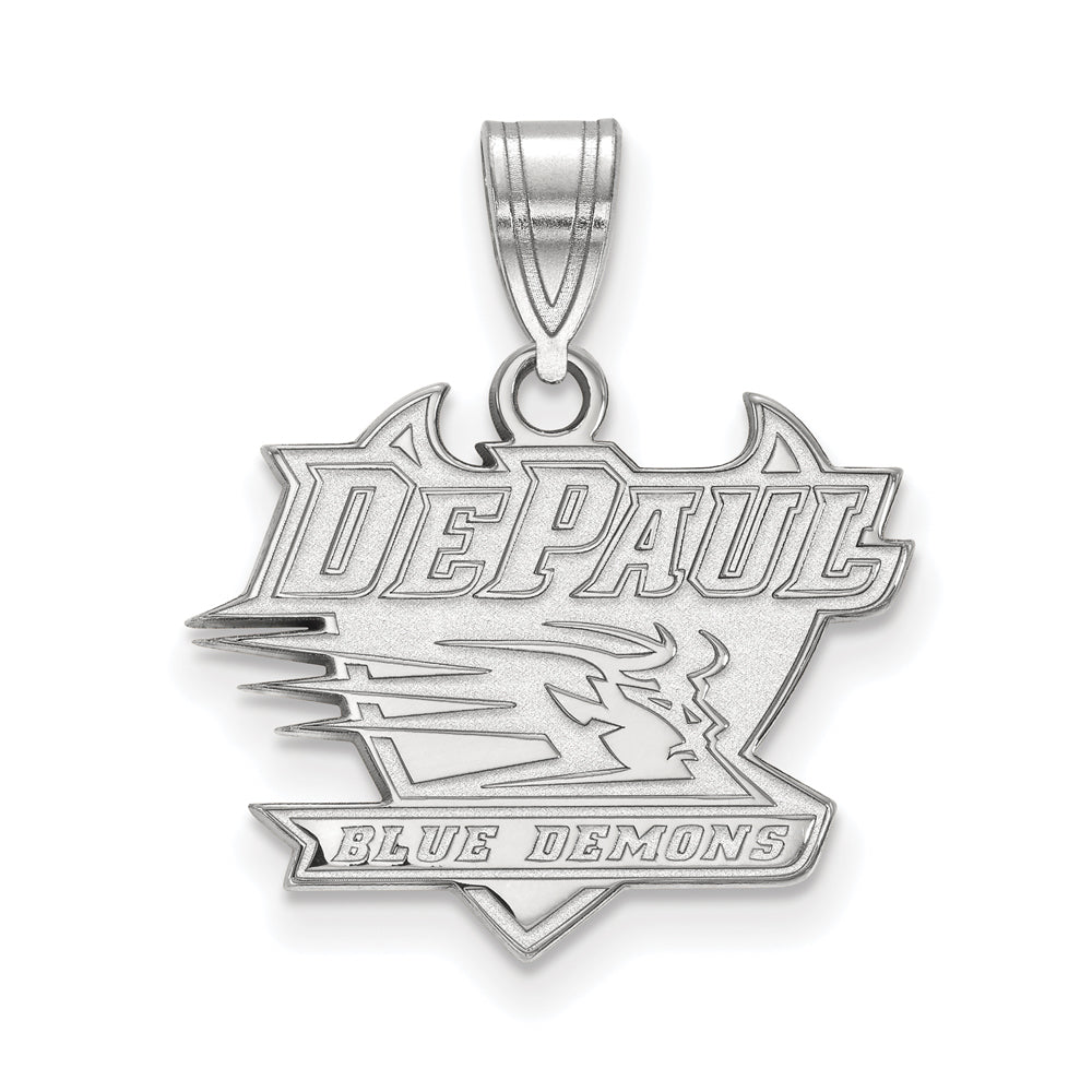 14k White Gold DePaul U Medium Pendant, Item P18906 by The Black Bow Jewelry Co.