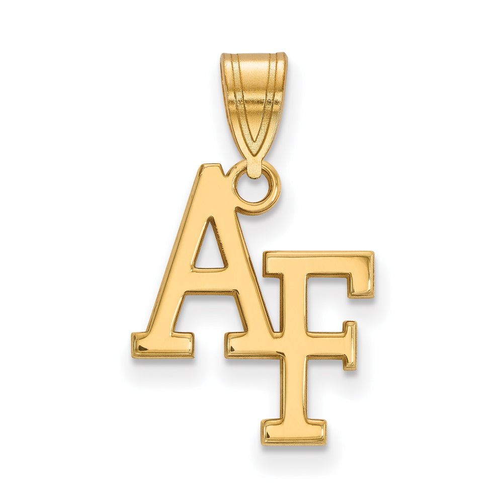 NCAA 14k Gold Plated Silver Air force Academy Medium Pendant, Item P19251 by The Black Bow Jewelry Co.