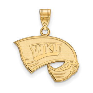 NCAA 14k Gold Plated Silver Western Kentucky U. Medium Pendant - The Black Bow Jewelry Co.