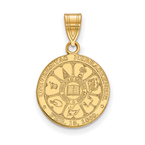 NCAA 14k Gold Plated Silver U. of Nebraska Medium Crest Pendant - The Black Bow Jewelry Co.