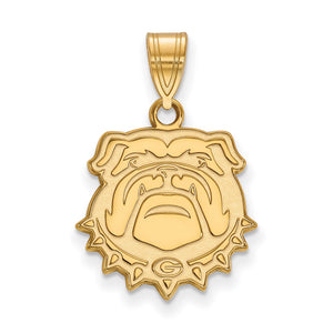 NCAA 14k Gold Plated Silver U. of Georgia Medium Pendant - The Black Bow Jewelry Co.