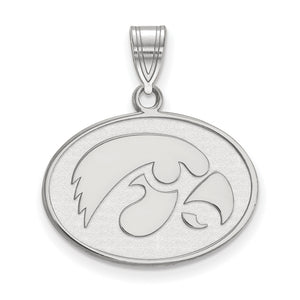 NCAA Sterling Silver U. of Iowa Medium Pendant - The Black Bow Jewelry Co.