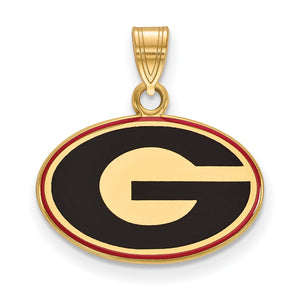 NCAA 14k Gold Plated Silver U. of Georgia Small Enamel Pendant - The Black Bow Jewelry Co.