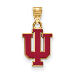 NCAA 14k Gold Plated Silver Indiana U Small Enamel Pendant - The Black Bow Jewelry Co.