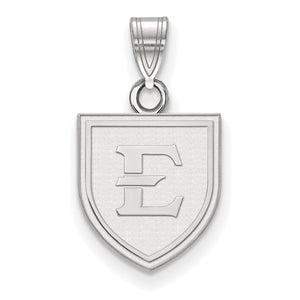 NCAA 10k White Gold East Tennessee State Small Pendant - The Black Bow Jewelry Co.