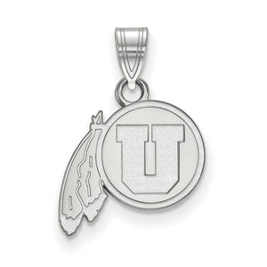 NCAA 10k White Gold U. of Utah Small Pendant - The Black Bow Jewelry Co.