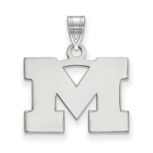 NCAA 10k White Gold U. of Michigan Small Pendant - The Black Bow Jewelry Co.