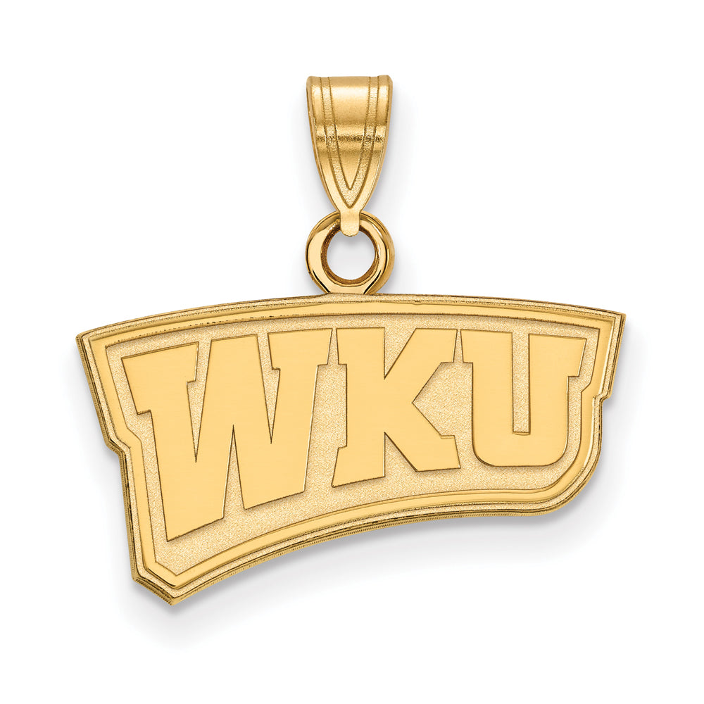 NCAA 10k Yellow Gold Western Kentucky U. Small Pendant, Item P20175 by The Black Bow Jewelry Co.
