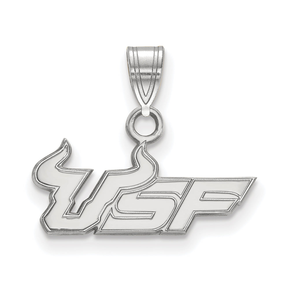 NCAA 14k White Gold South Florida Small Pendant, Item P20396 by The Black Bow Jewelry Co.