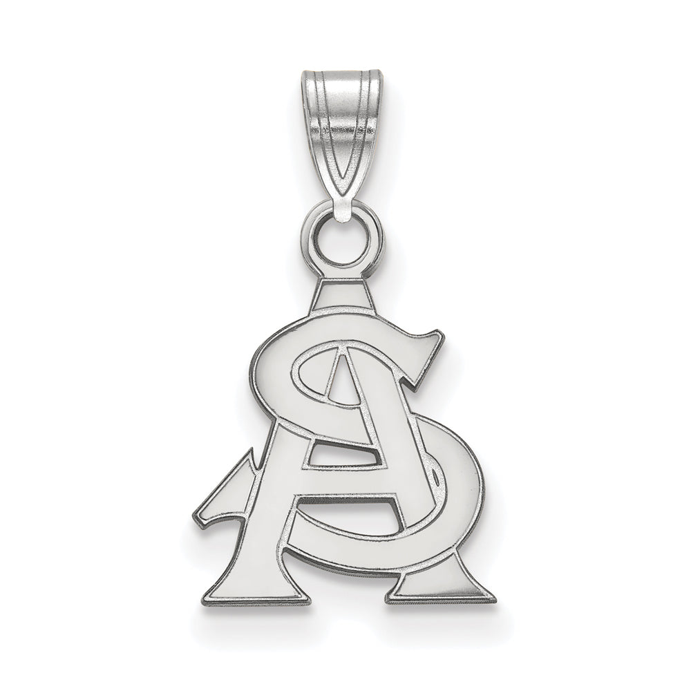 NCAA 14k White Gold Arizona State Small Pendant, Item P20422 by The Black Bow Jewelry Co.