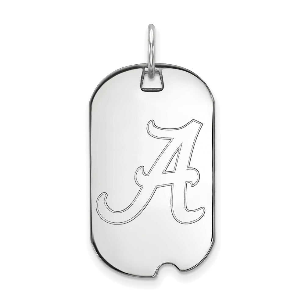 NCAA 14k White Gold U. of Alabama Dog Tag Pendant, Item P20437 by The Black Bow Jewelry Co.