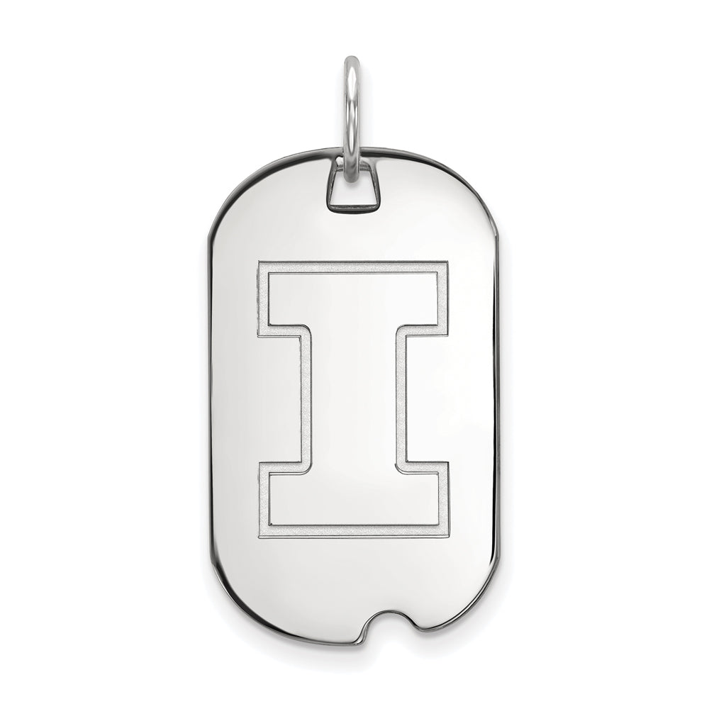 NCAA 14k White Gold U. of Illinois Dog Tag Pendant, Item P20441 by The Black Bow Jewelry Co.