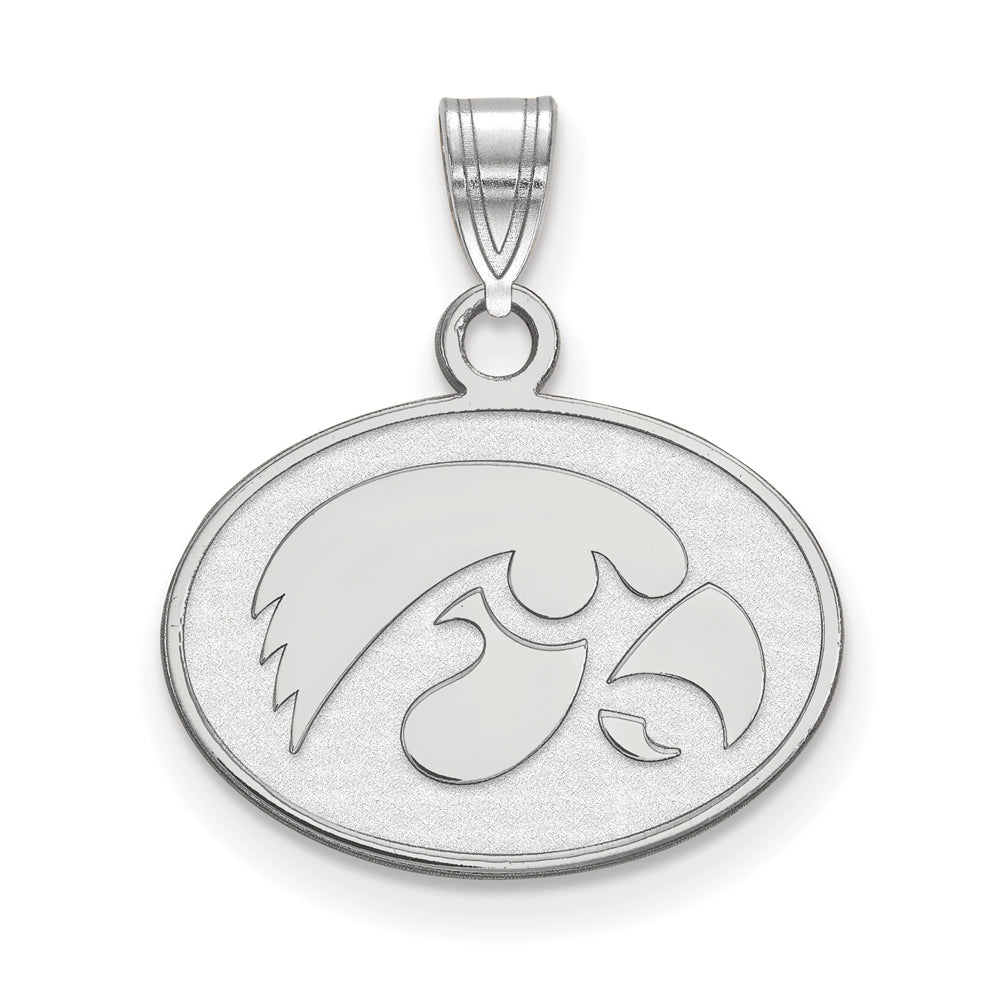 NCAA 14k White Gold U. of Iowa Small Pendant, Item P20472 by The Black Bow Jewelry Co.