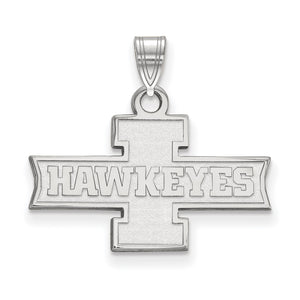 NCAA 14k White Gold U. of Iowa Small Pendant - The Black Bow Jewelry Co.