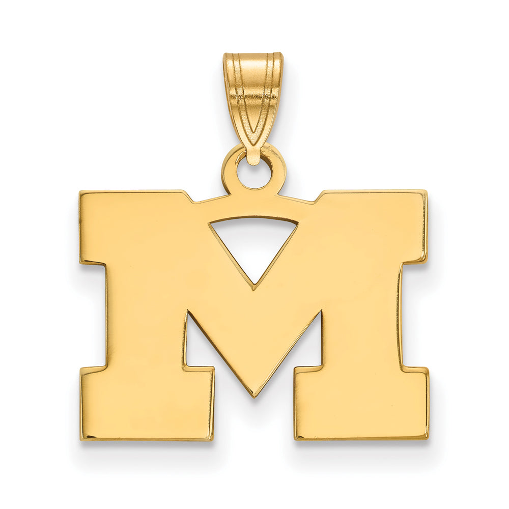 NCAA 14k Yellow Gold U. of Michigan Small Pendant, Item P20587 by The Black Bow Jewelry Co.
