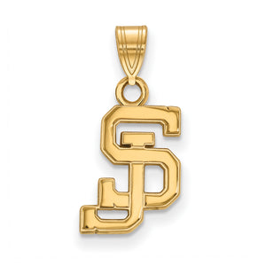 NCAA 14k Yellow Gold San Jose State Small Pendant - The Black Bow Jewelry Co.