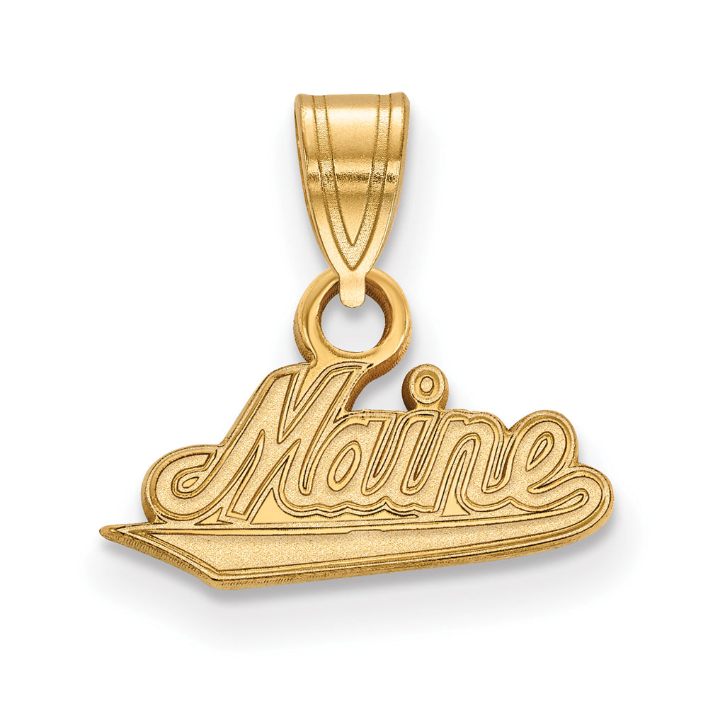 NCAA 14k Gold Plated Silver U. of Maine Small Pendant, Item P20769 by The Black Bow Jewelry Co.