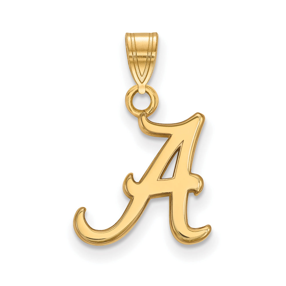 NCAA 14k Gold Plated Silver U. of Alabama Small Pendant, Item P20800 by The Black Bow Jewelry Co.