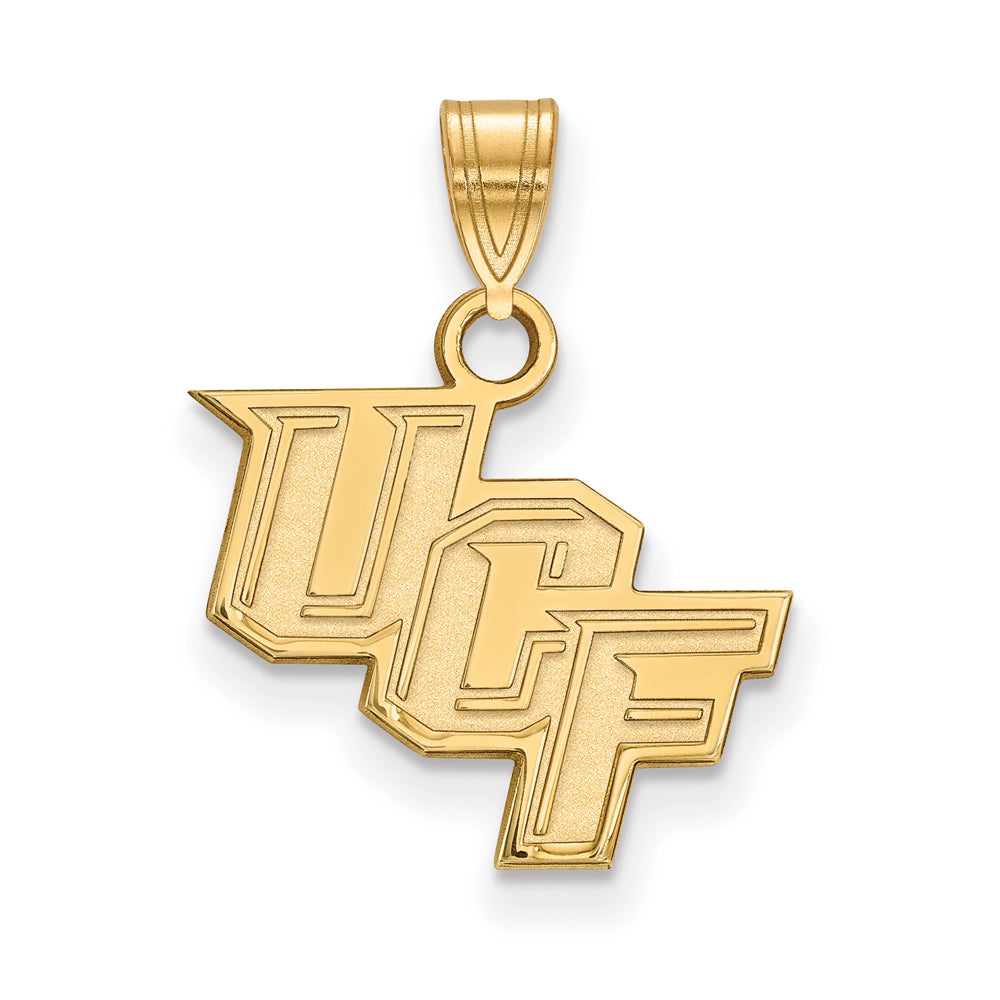 NCAA 14k Gold Plated Silver Central Florida Small Pendant, Item P20804 by The Black Bow Jewelry Co.