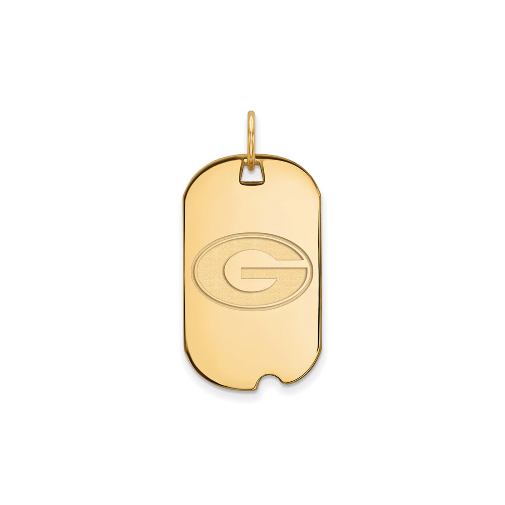 NCAA 14k Gold Plated Silver U. of Georgia Dog Tag Pendant, Item P20910 by The Black Bow Jewelry Co.